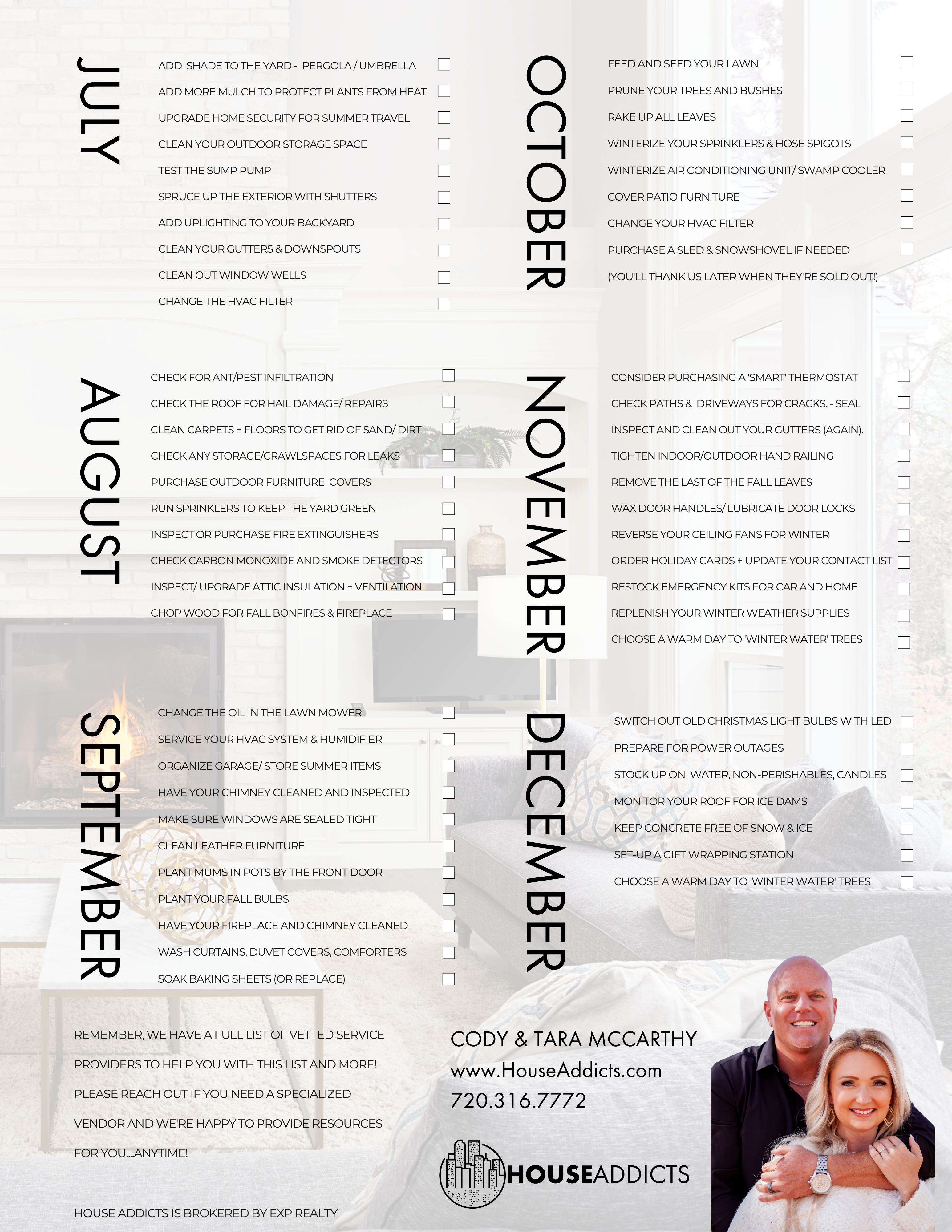 Homeowner Checklist July - December
