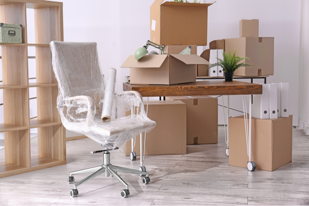 Office with boxes