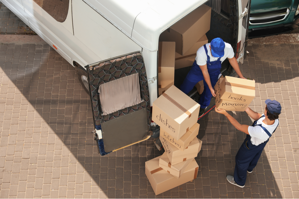 People loading up a moving truck