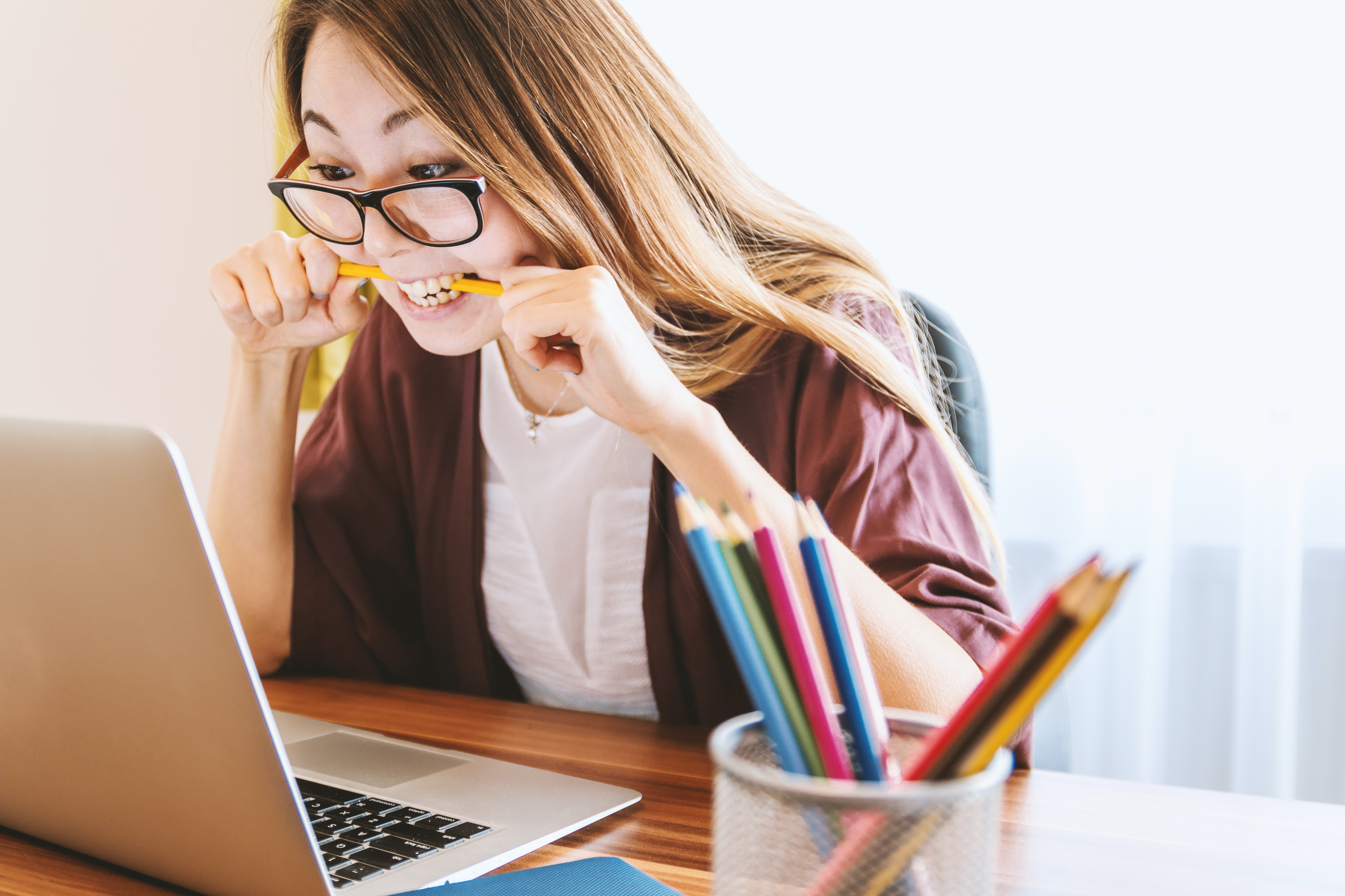 woman stressed looking at computer
