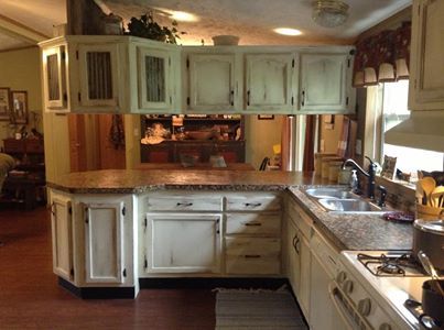 Painted and distressed kitchen cabinets