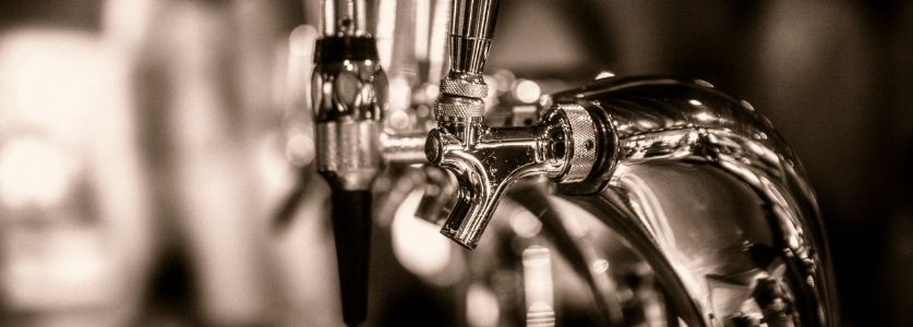 empty clear beer tap