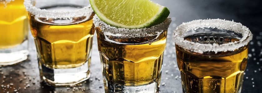 tequila shots lined up