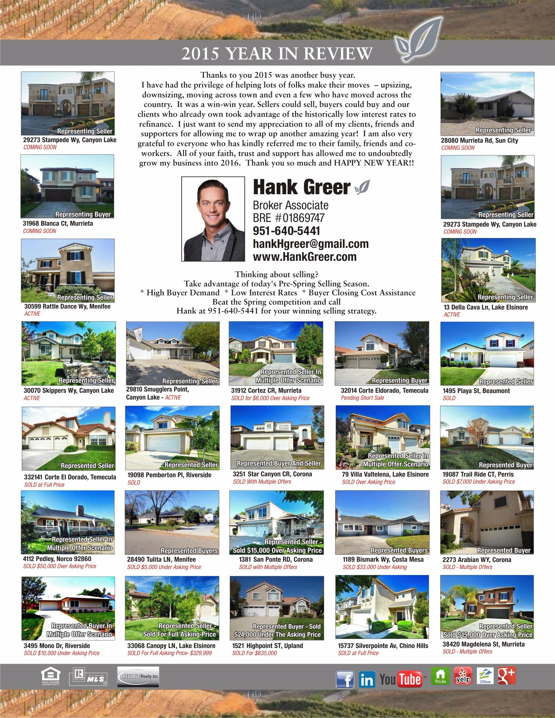 Year in Review - Hank Greer Sold Homes 2015