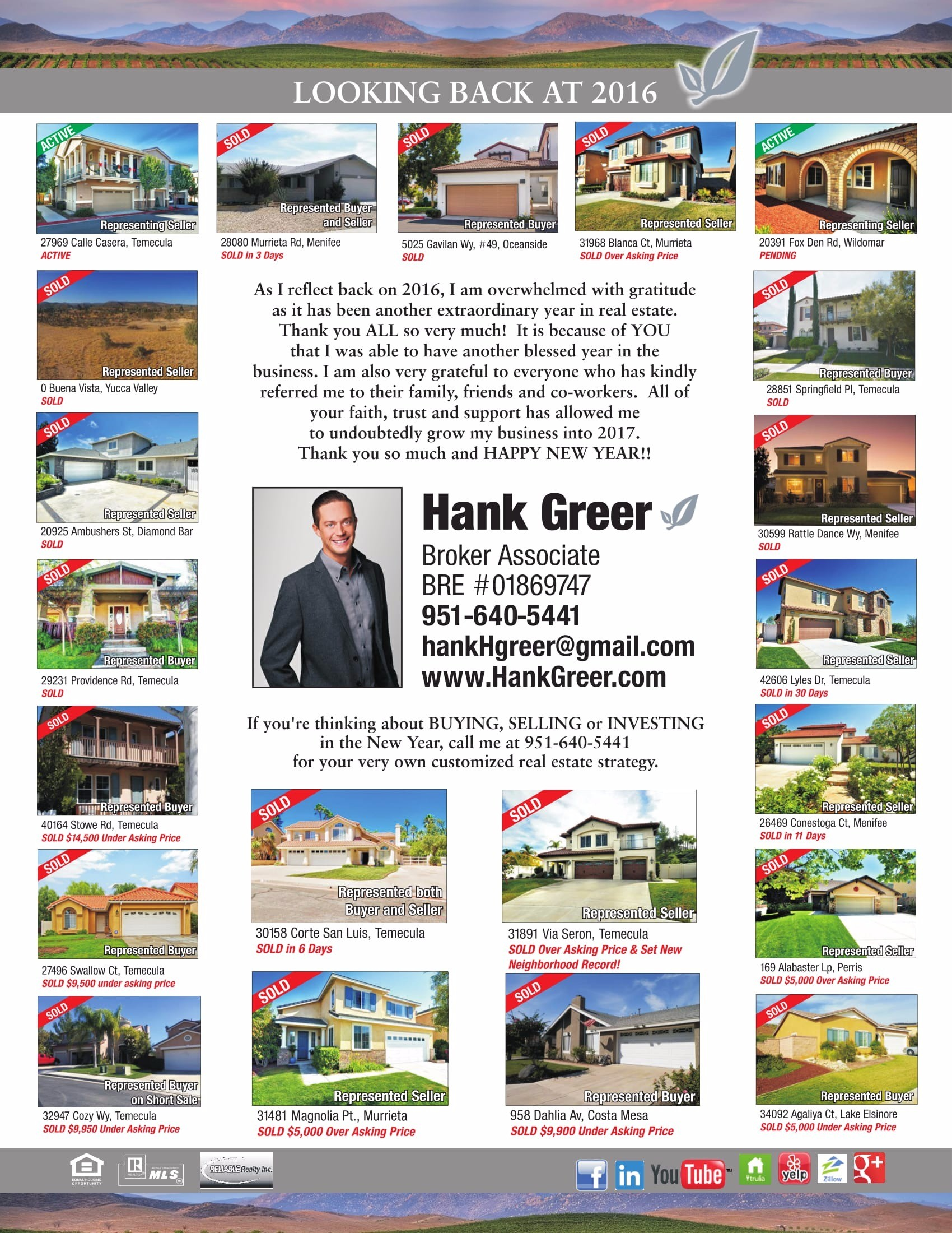 All sold homes by Hank Greer in 2016 in and around the Temecula California area.