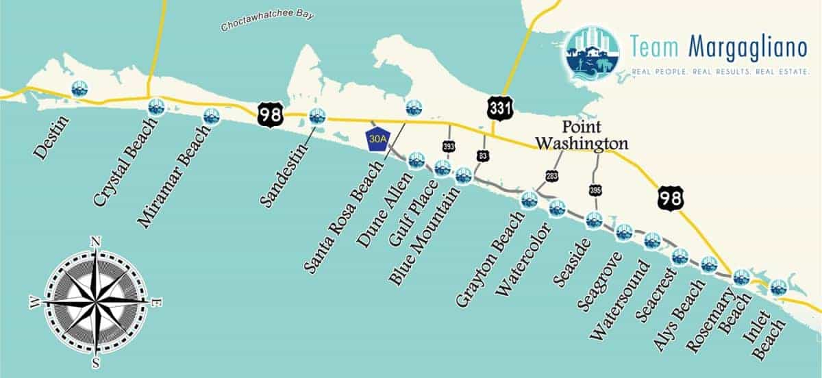 30a, Destin, and South Walton Beach map