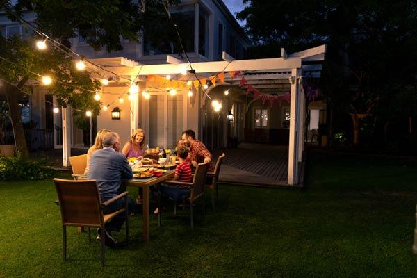 Use light strings in the backyard
