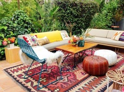 Bohemian backyard patio design