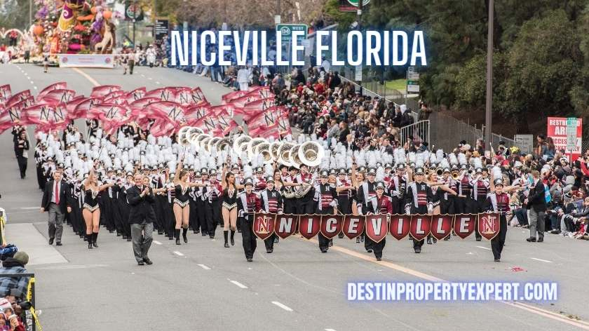 Niceville high school band marching downtown