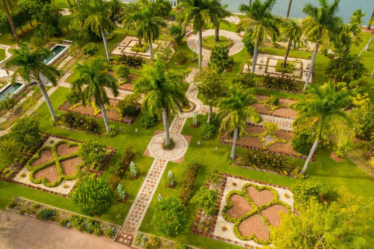 Aerial view of a private garden on Star Island