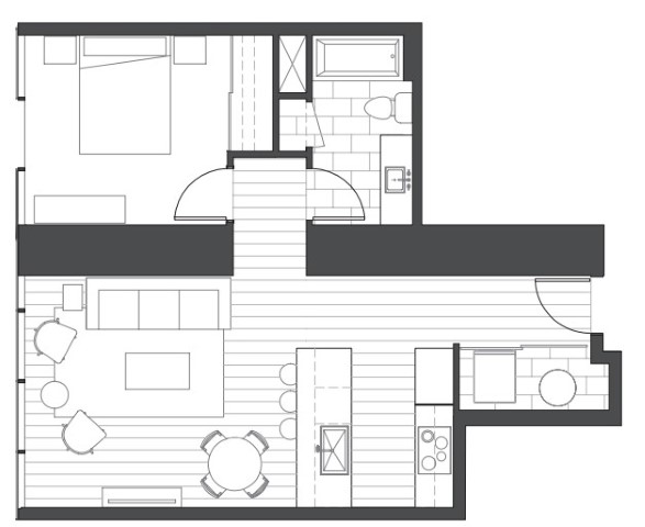 Ae'o 1 bedroom alternate floorplan