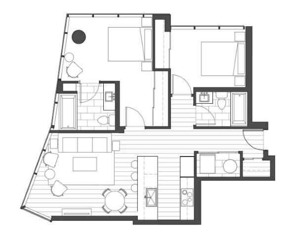 Ae'o 2 bedroom floorplan