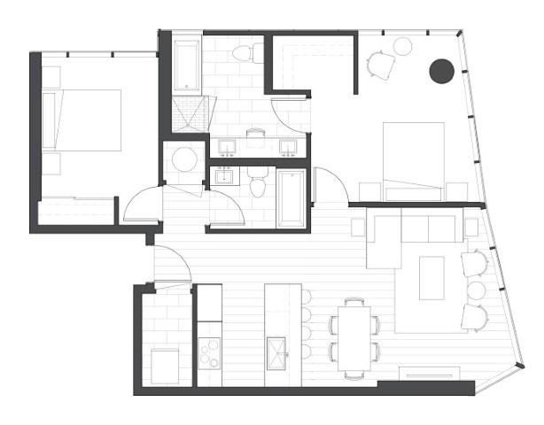 2 bedroom condo floorplan