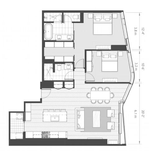 Anaha 2 bedroom floorplan