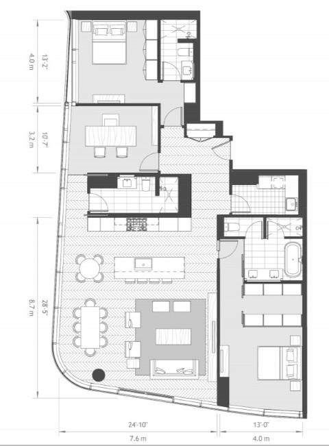 2 bedroom floorplan with den at Anaha condo