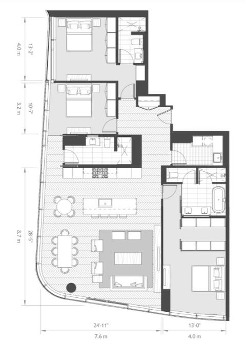 3 bedroom floorplan at Anaha