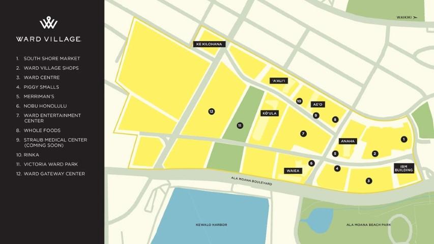 ward village map