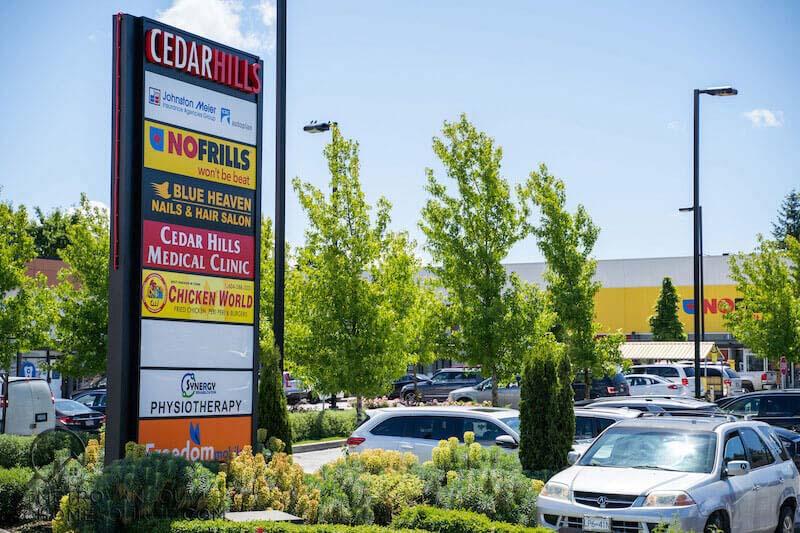 Cedar Hills Plaza Sign in Surrey, British Columbia