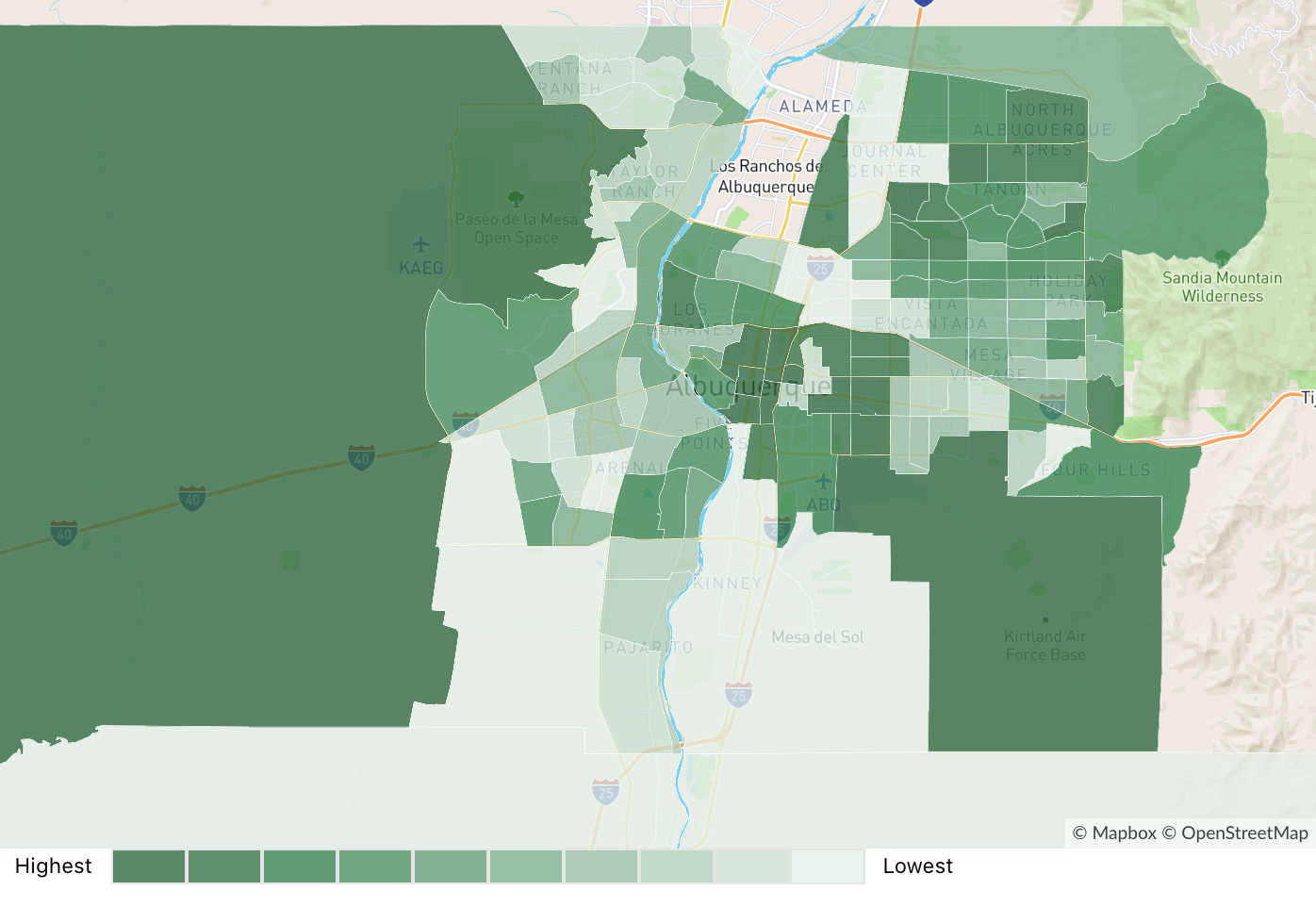 Map displaying average home prices by neighborhood in Albuquerque, NM