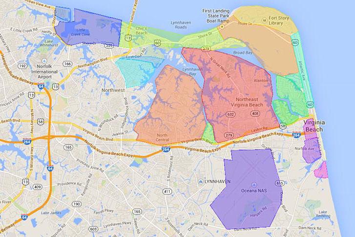 map of the best neighborhoods in Virginia Beach