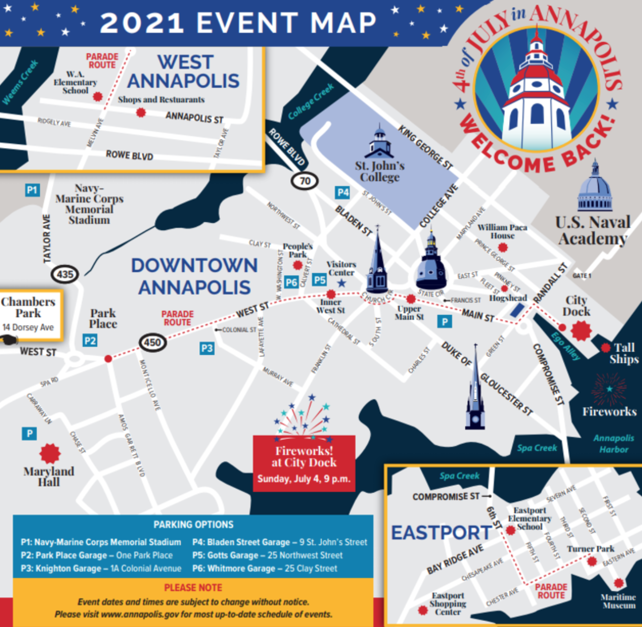 Annapolis July 4th Celebration Map