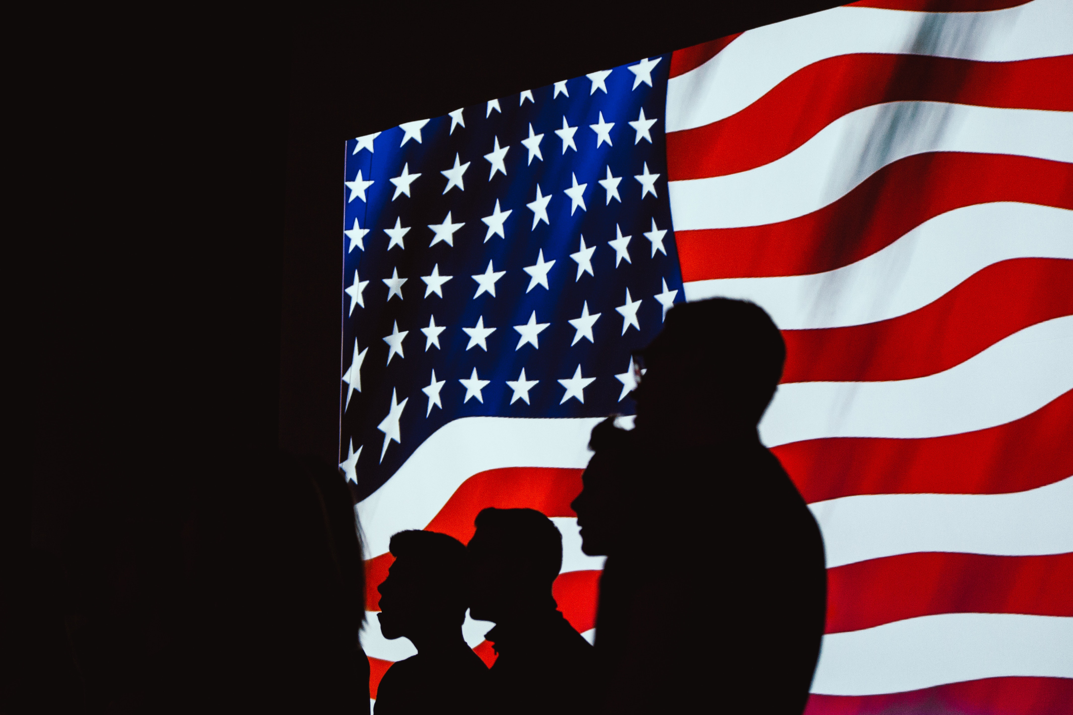 American Flag With Silhouette