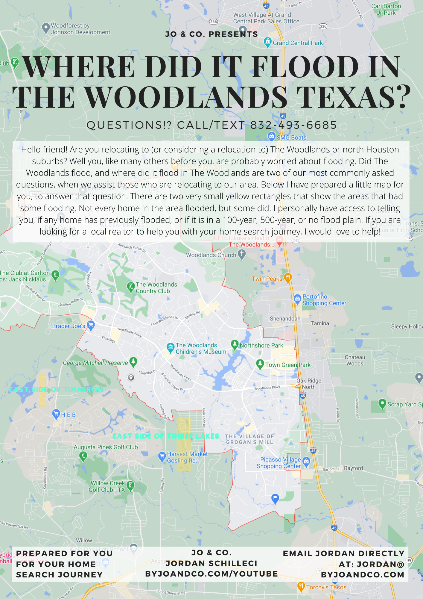 Where did it flood in The Woodlands?