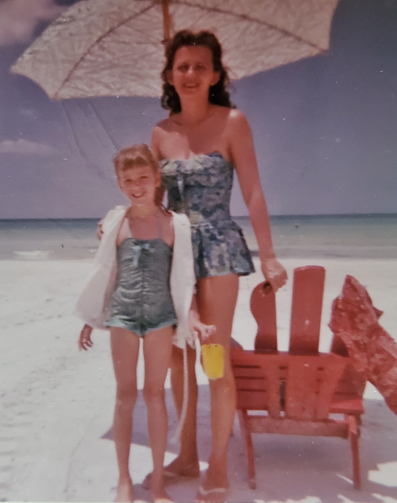 my mom and i on beach in sarasota florida