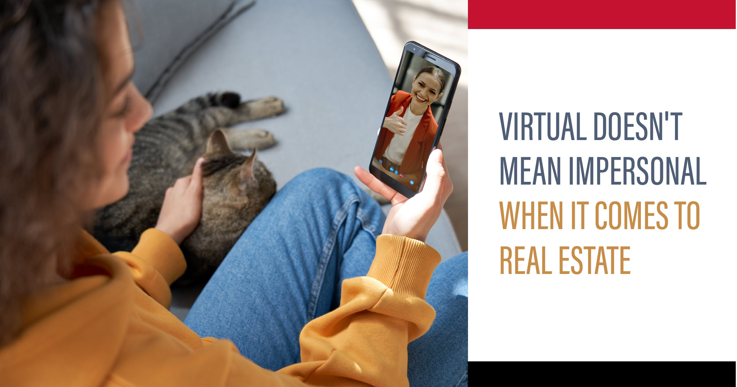 woman with cat looking at a virtual tour of a scottsdale real estate agent touring a home