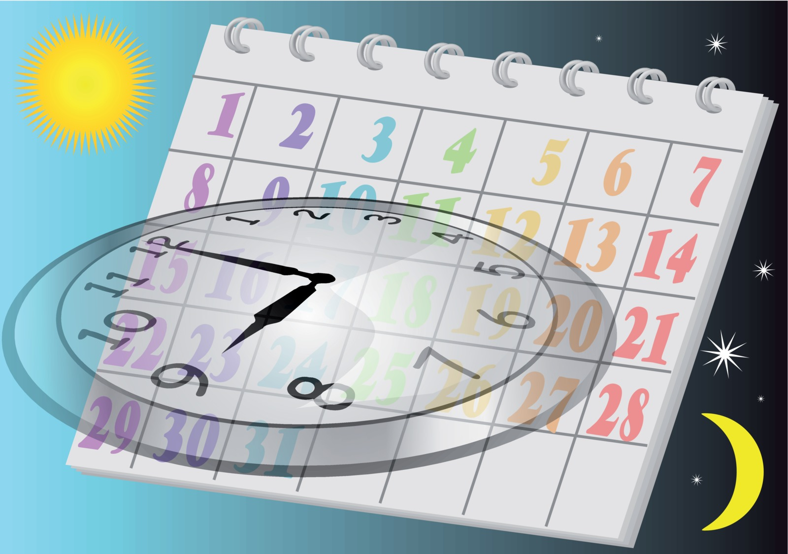 clock and calendar showing moving time to a scottsdale home