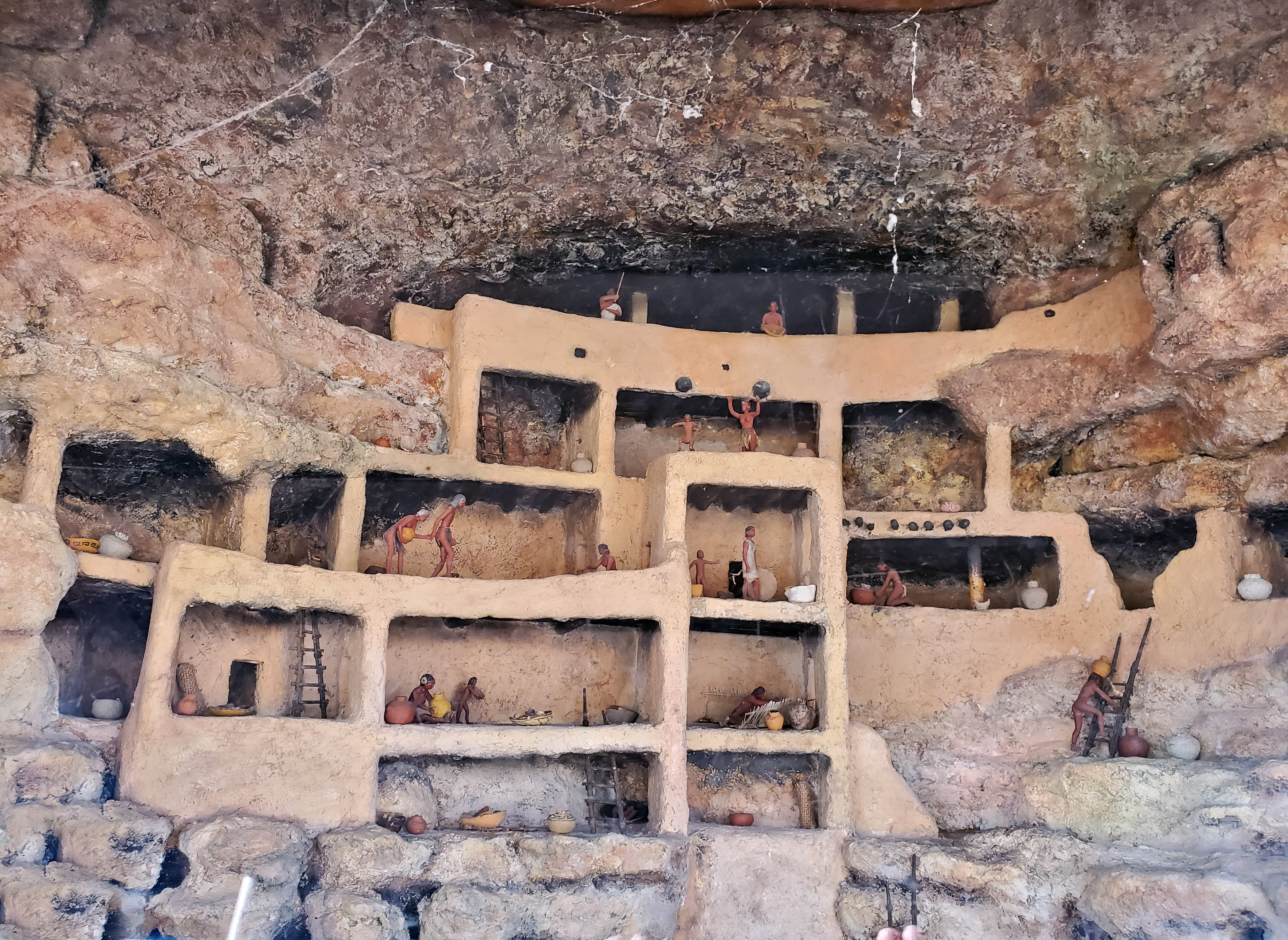 diorama of how sinagua indians lived in montezuma castle