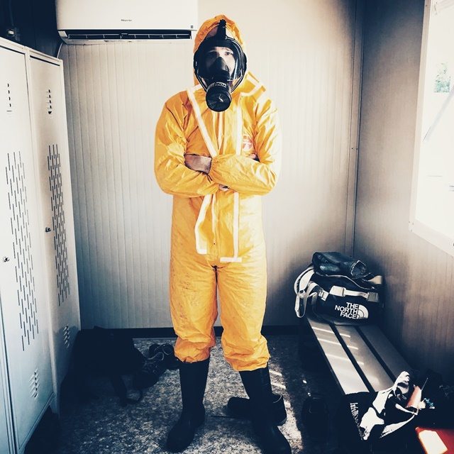 hazard protection suit to remediate biohazards in a scottsdale home