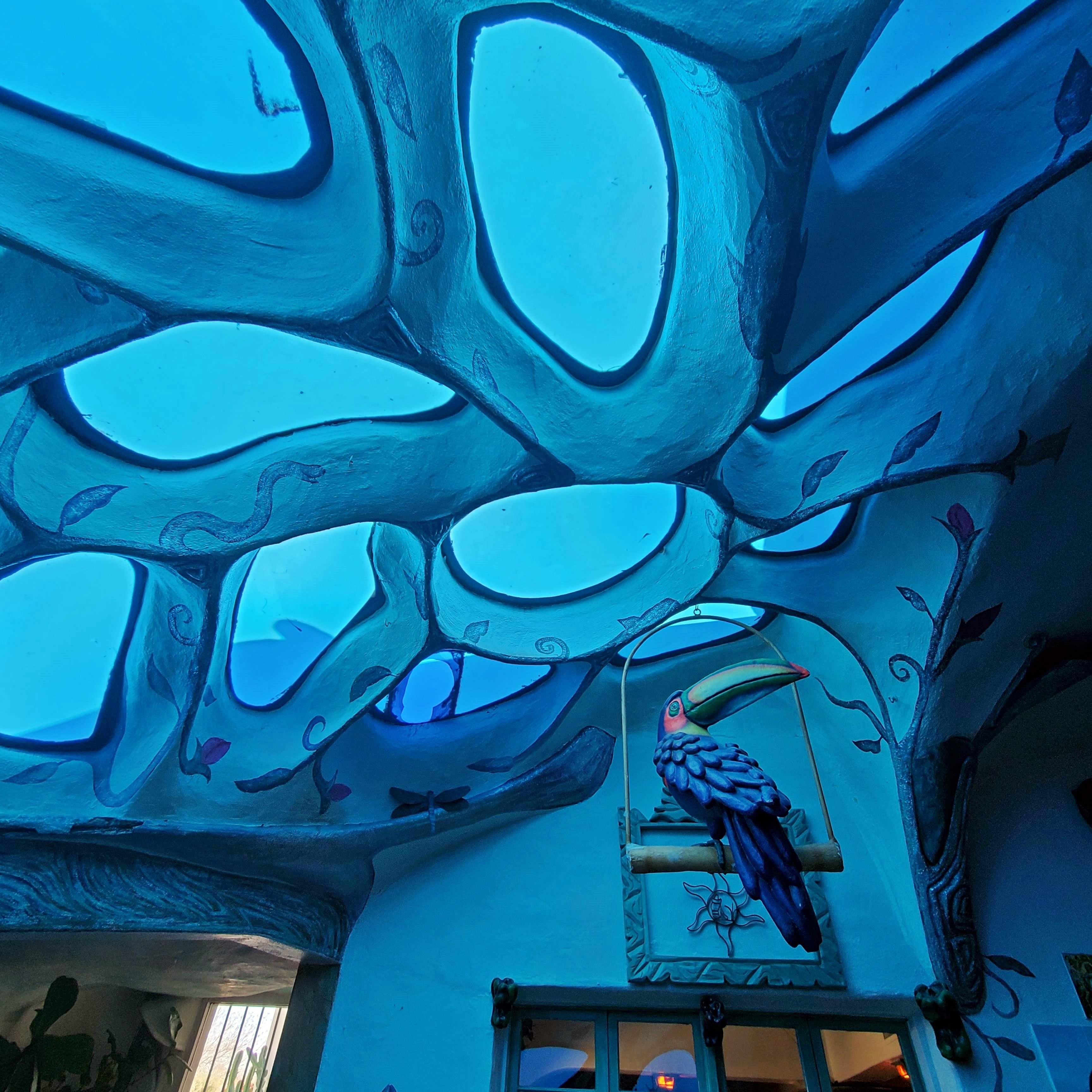 close up of the blue ceiling at los olivos in oldtown scottsdale