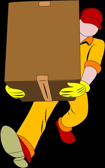 moving man with box going to scottsdale home