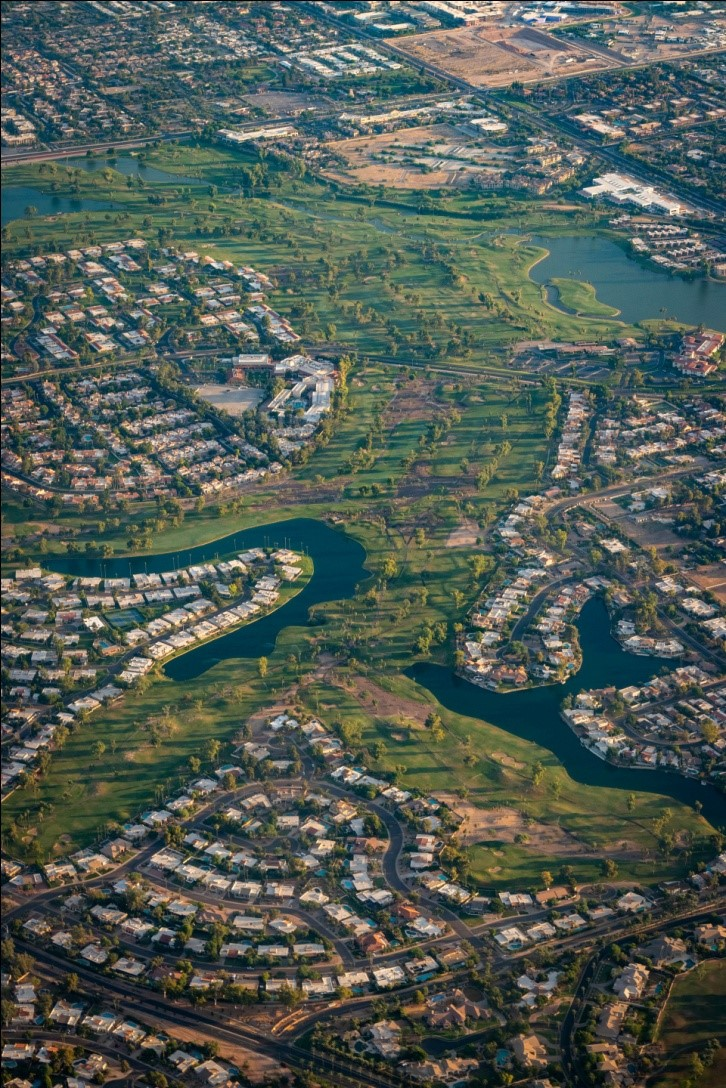 bird's eye view of scottsdale homes