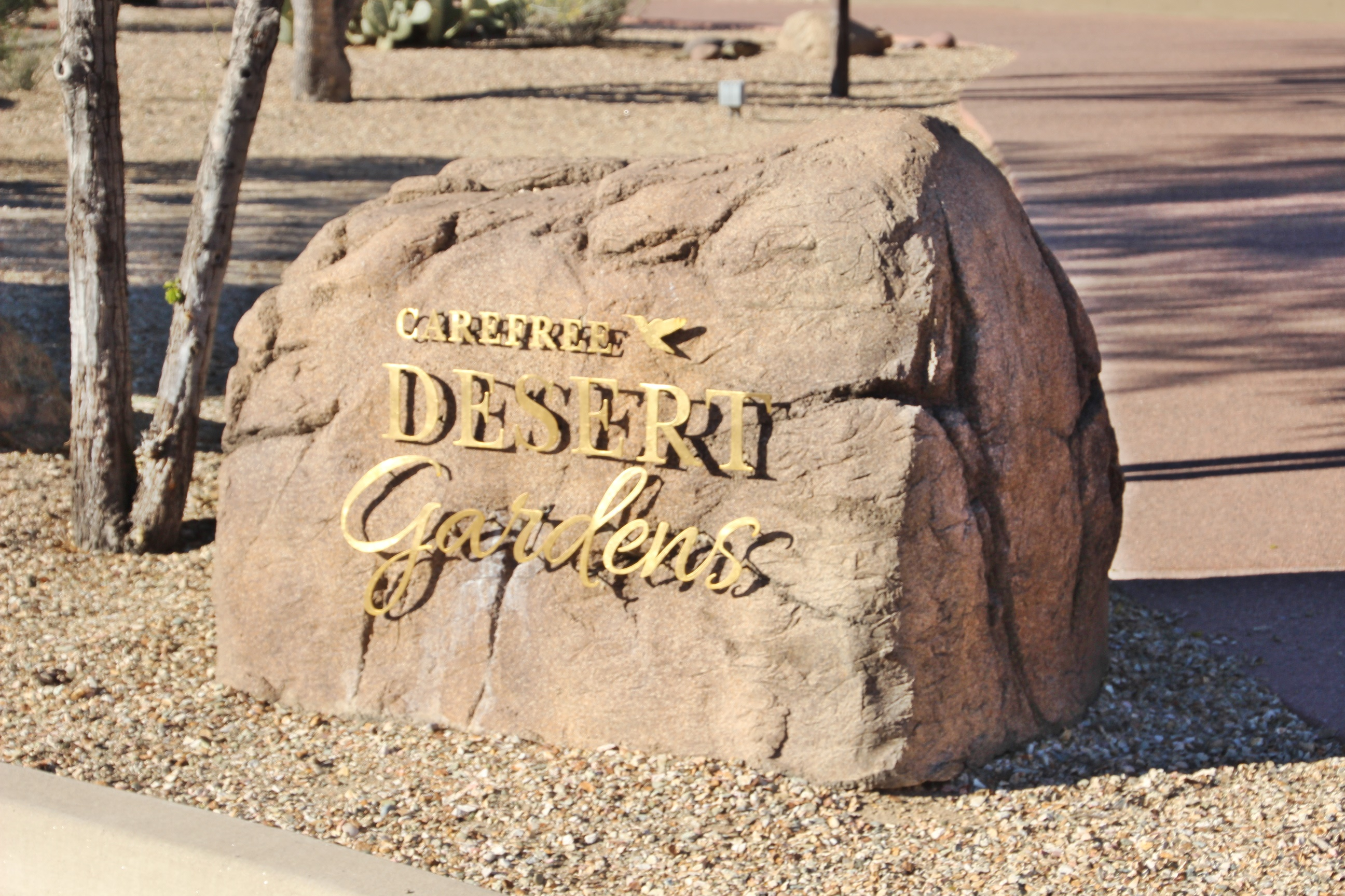 welcome rock for carefree desert gardens