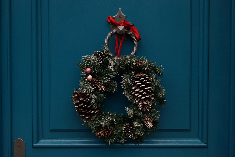 Holiday wreath on blue door
