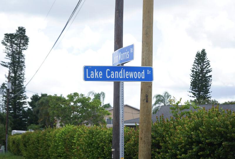Candlewood Lake Neighborhood Street Sign in Fort Myers, Florida