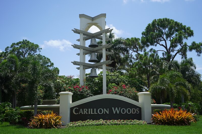 Carillon Woods Neighborhood Sign in Fort Myers, Florida