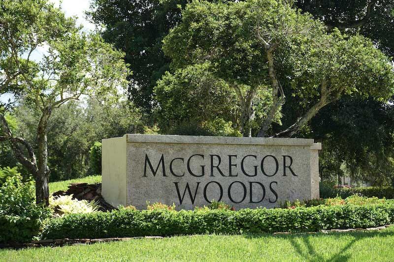 McGregor Woods Neighborhood Sign in Fort Myers, Florida