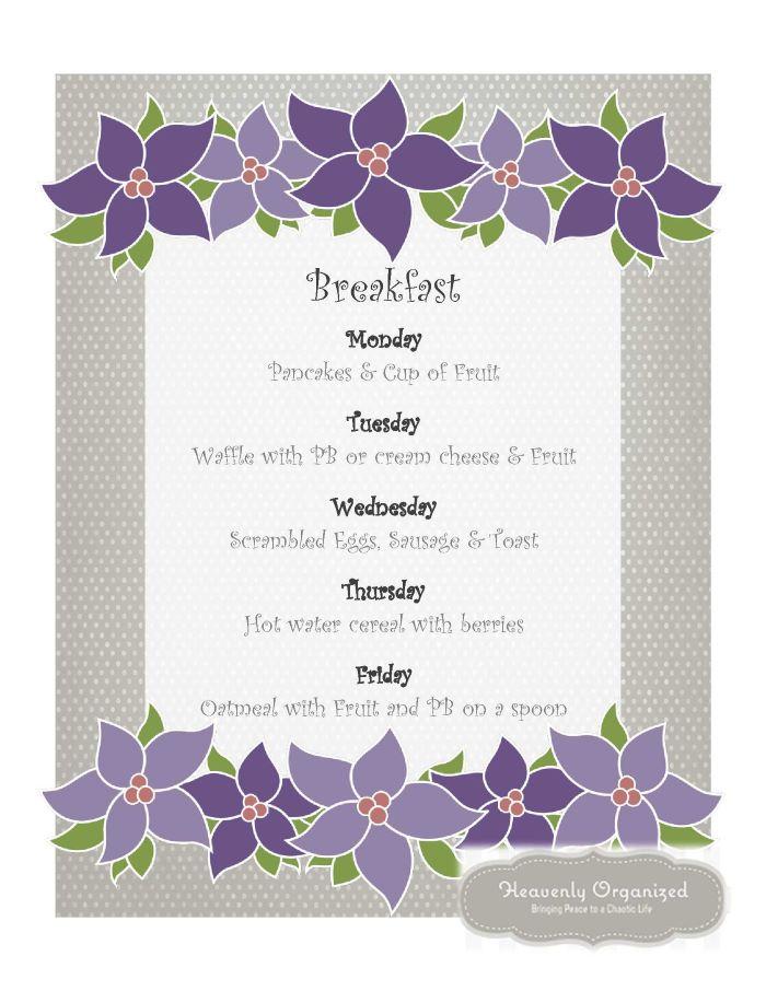 Breakfast Menu - Organizing