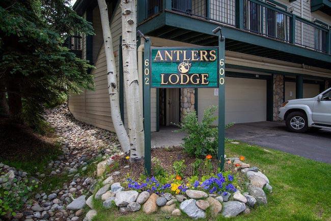 Antlers Lodge Condos Sign in Breckenridge, Colorado