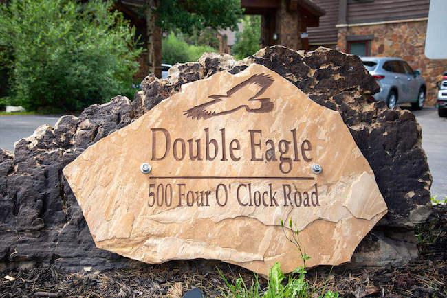 Double Eagle Condos Sign in Breckenridge, Colorado