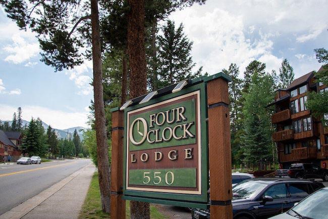 Four O'Clock Lodge Condos Sign in Breckenridge, Colorado