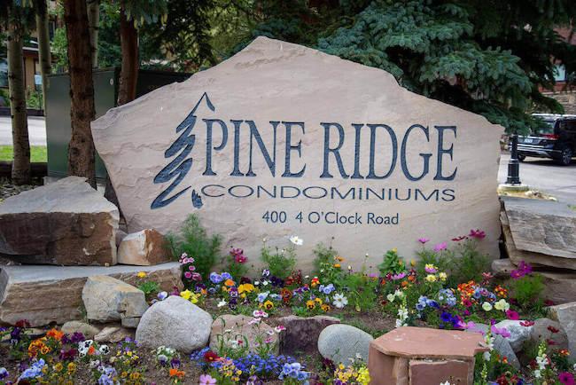 Pine Ridge Condos Sign in Breckenridge, Colorado
