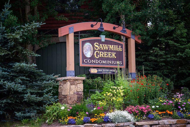 Sawmill Creek Condos Sign in Breckenridge Colorado