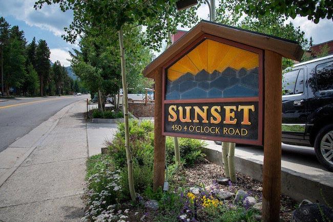 Sunset Condos Sign in Breckenridge Colorado
