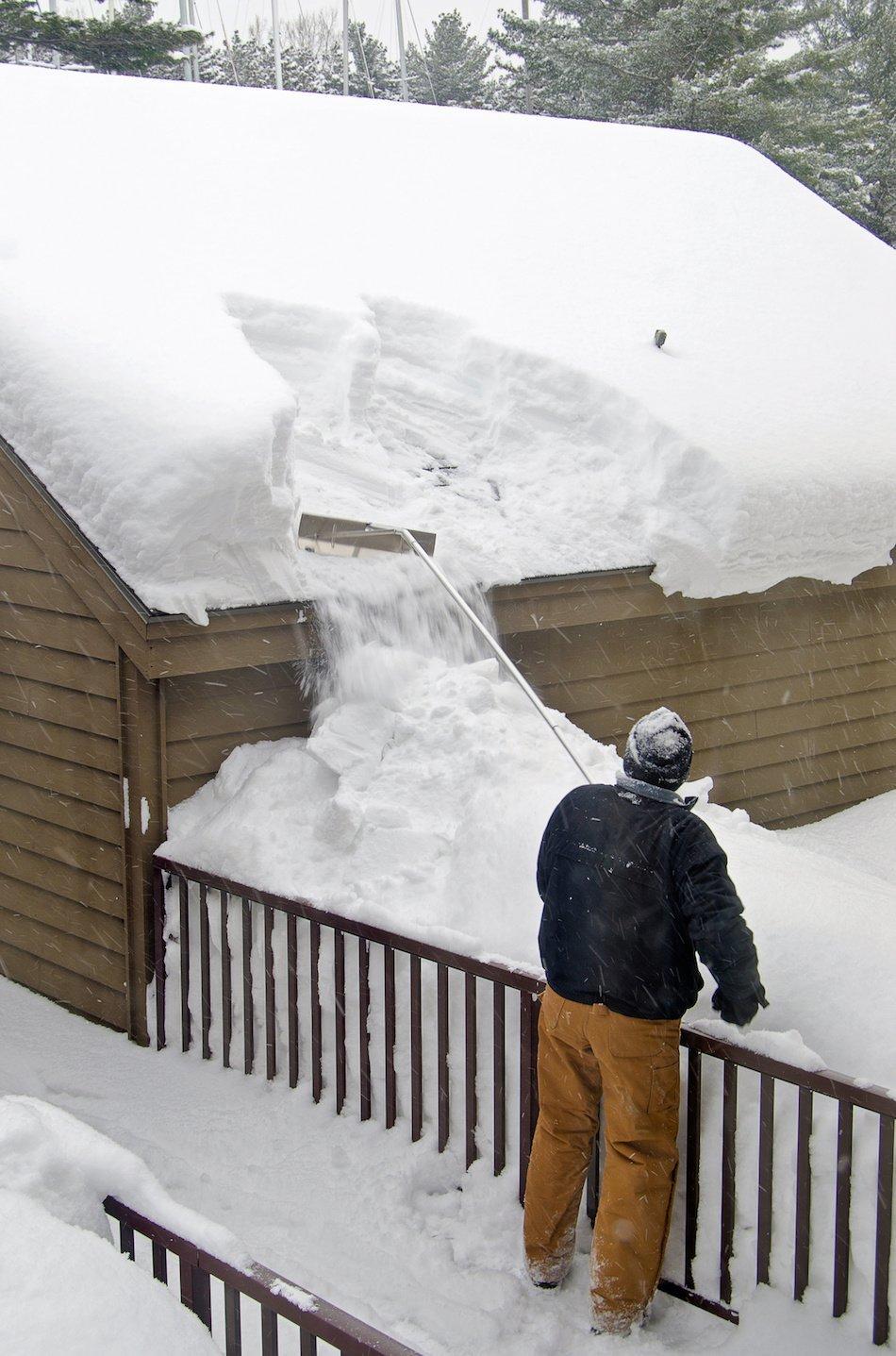 Removing Ice Dam With Snow Rake