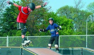 Children skating at Troy Skate Park