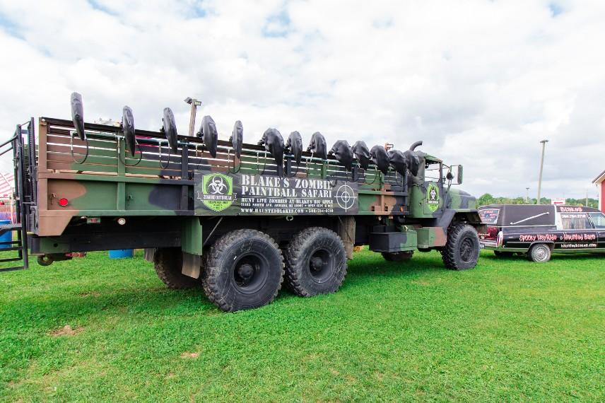 Zombie Paintball Safari truck at Blake Farms near Rochester Hills, Michigan